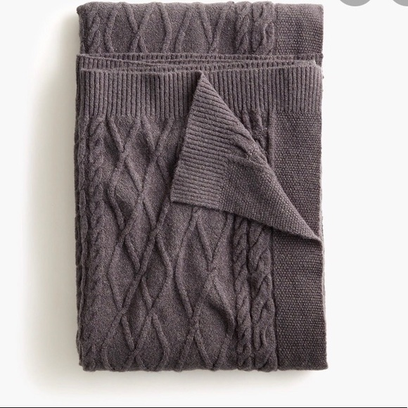 NWT J. Crew Cable Knit Throw Blanket Light Gray